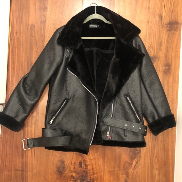 authorized site shop best sellers 100% authenticated Black Leather Jacket/Black Oversized Pu Aviator